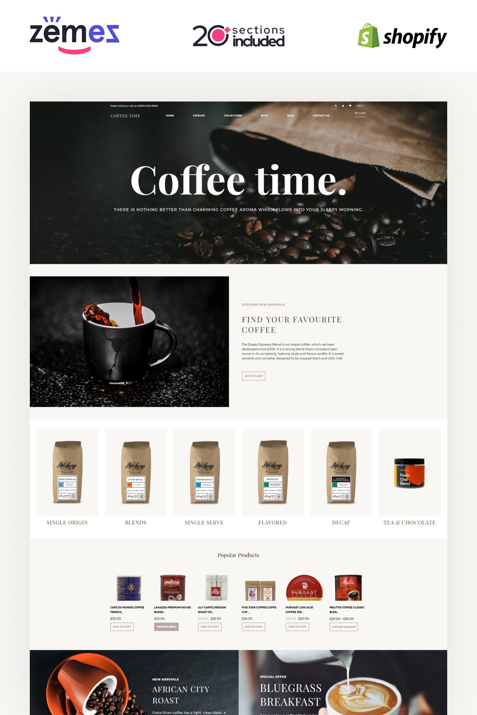 "Tema Shopify Responsive #84426 ""Coffee Time - Coffee Store eCommerce Elegant"""