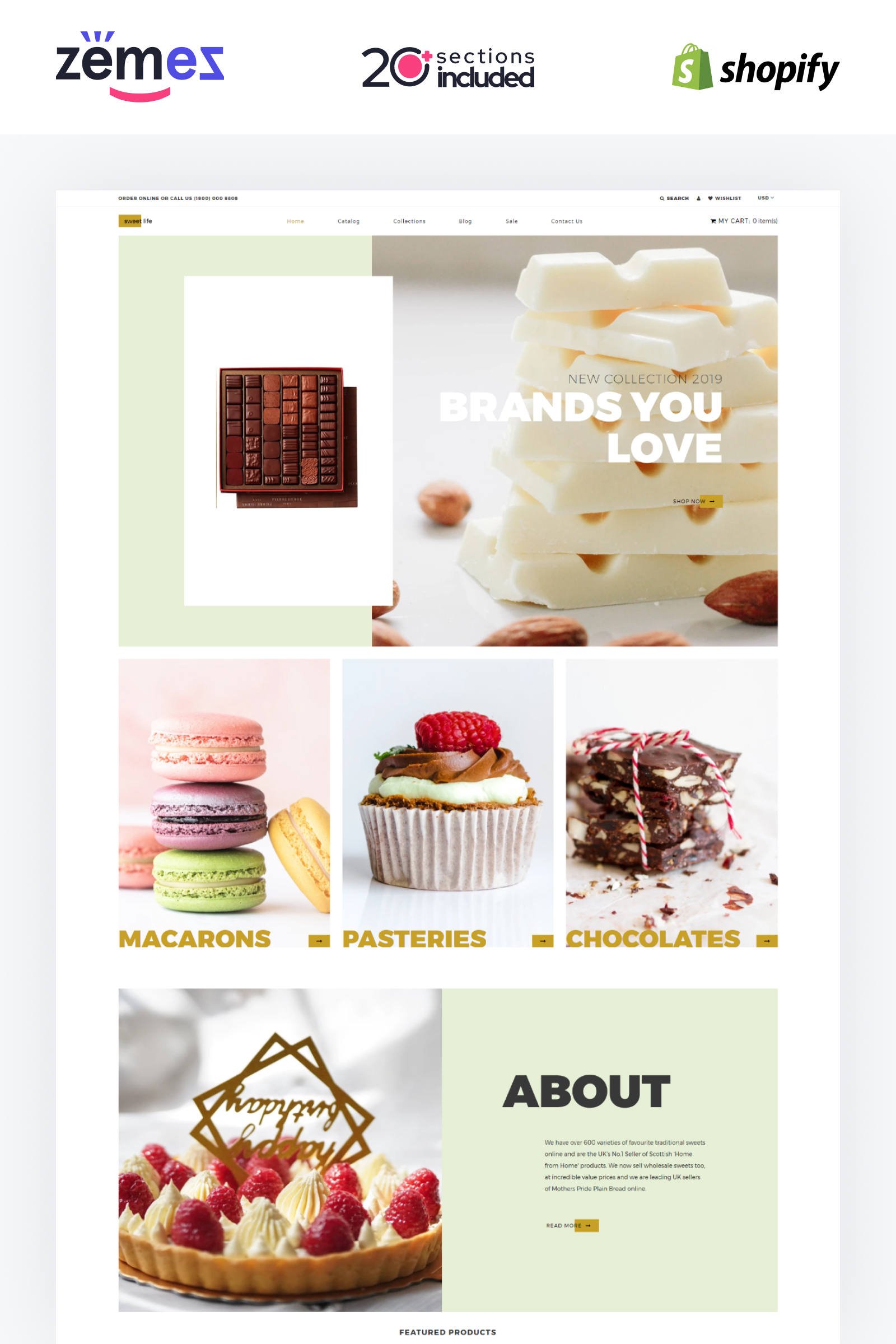 """Tema Shopify Responsive #84429 """"Sweet Life - Sweet Shop Multipage Clean"""""""
