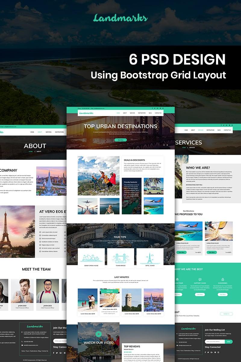 "Template PSD Bootstrap #84409 ""Landmarks - Travel"""