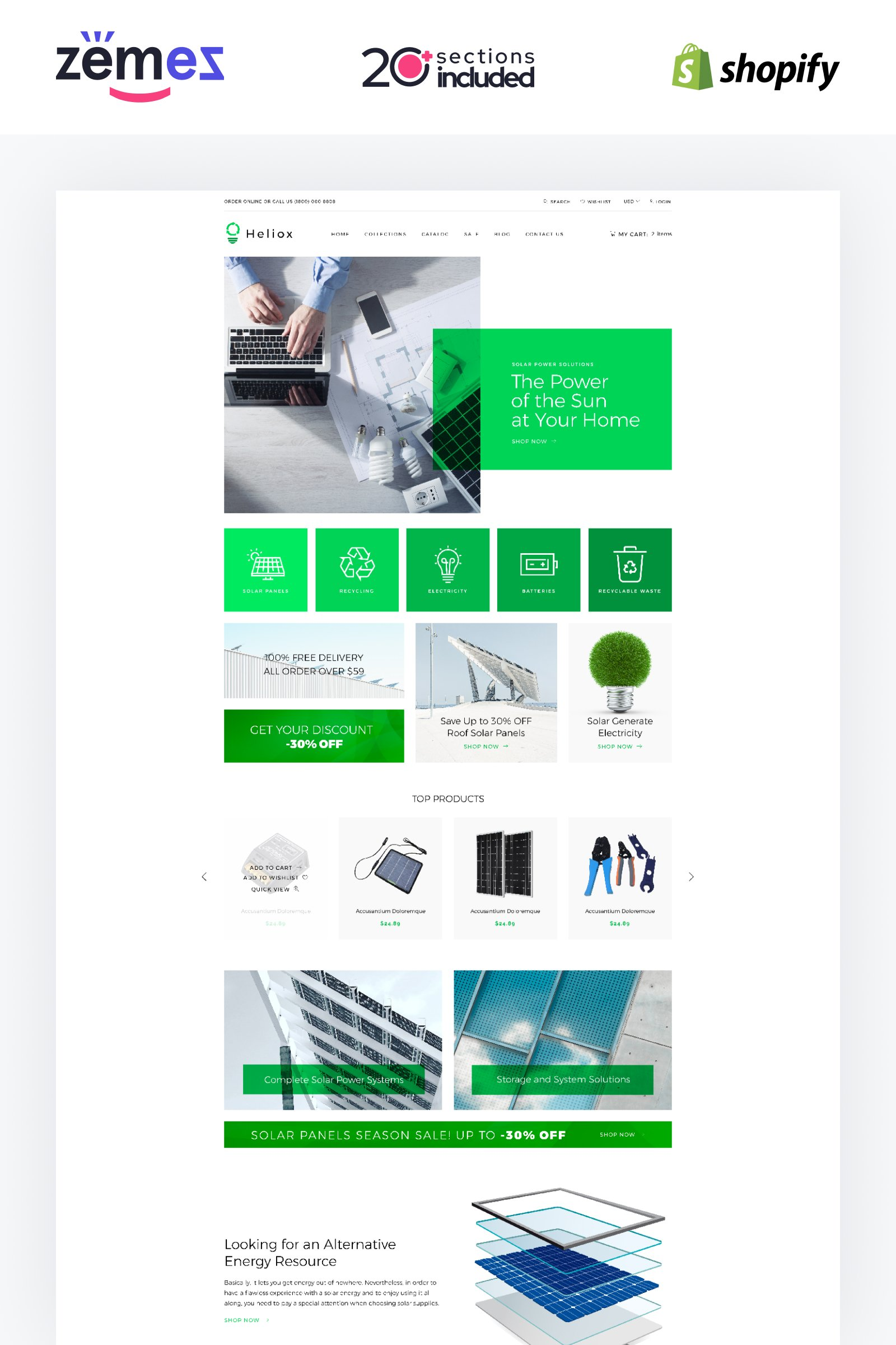 "Template Shopify Responsive #84427 ""Helios - Solar Energy eCommerce Modern"""