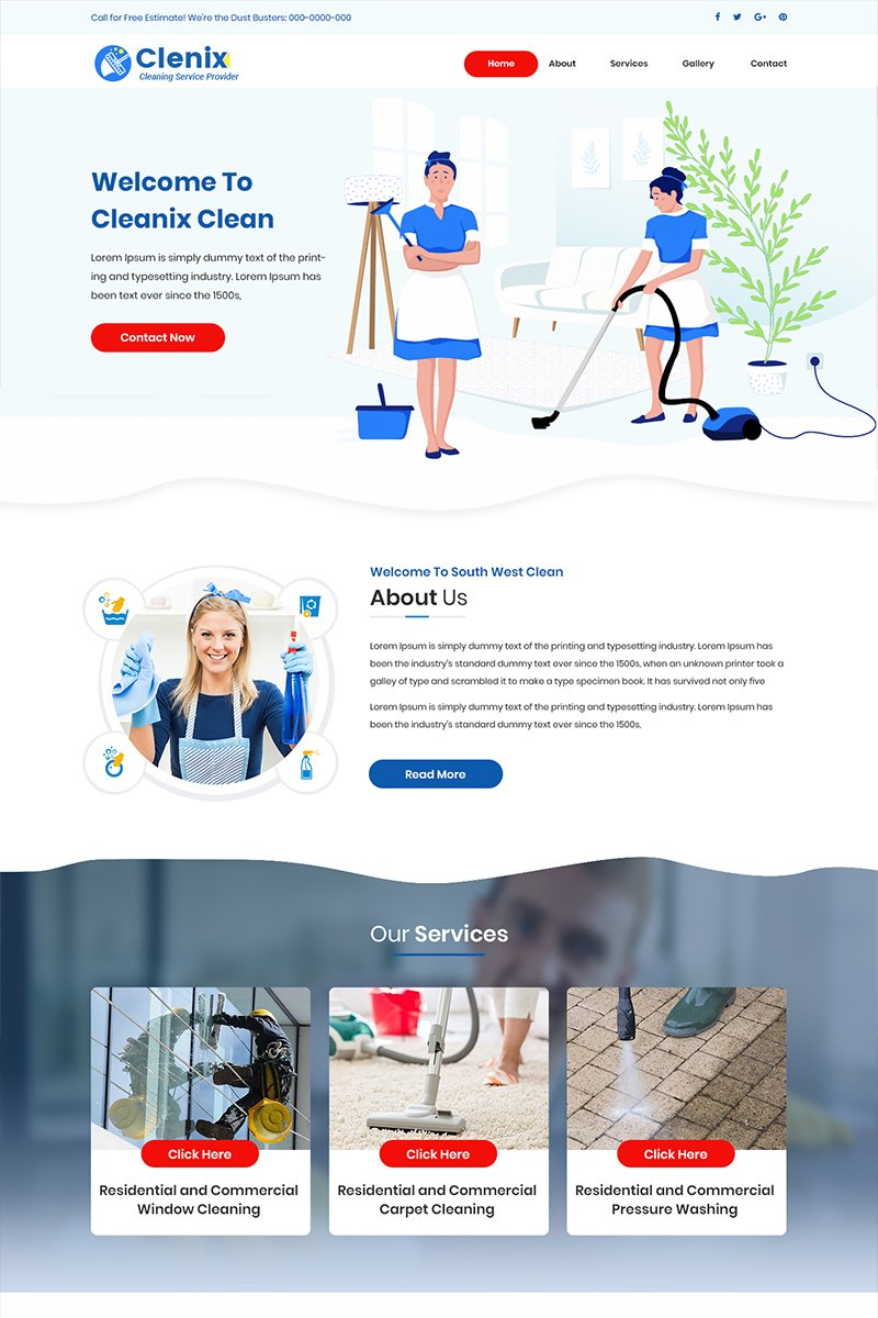 Cleanix - Cleaning Company Psd #84596