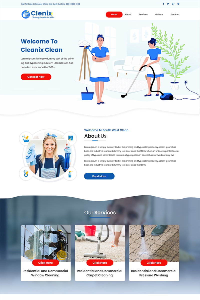 Cleanix - Cleaning Company PSD Template