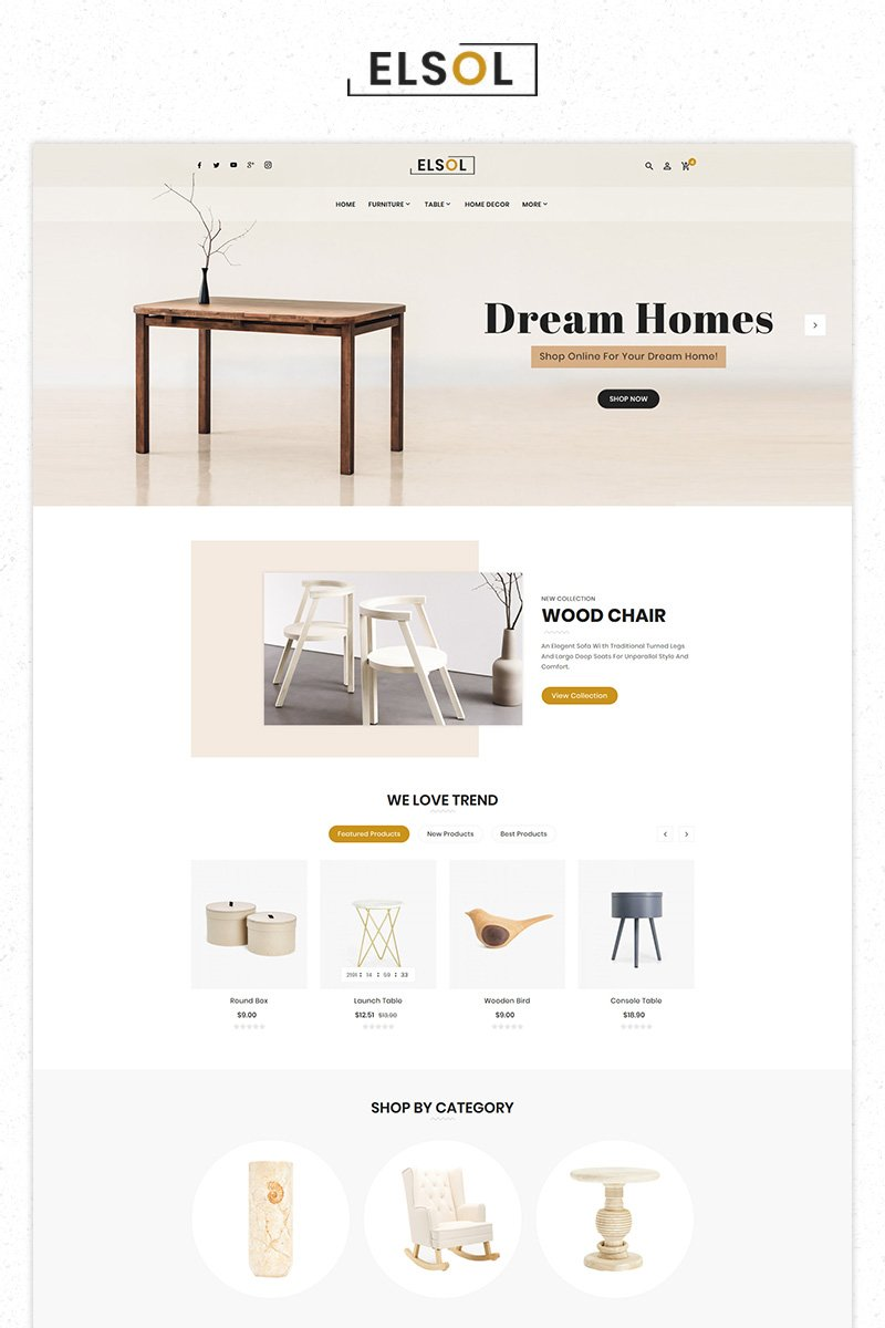 """Elsol Furniture Store Premium"" PrestaShop模板 #84514 - 截图"