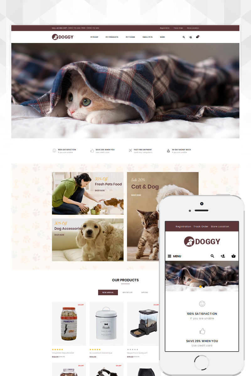 "OpenCart Vorlage namens ""Doggy - Pets Store"" #84554 - Screenshot"
