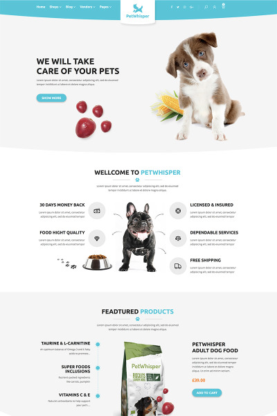 Pets store RTL WordPress Theme