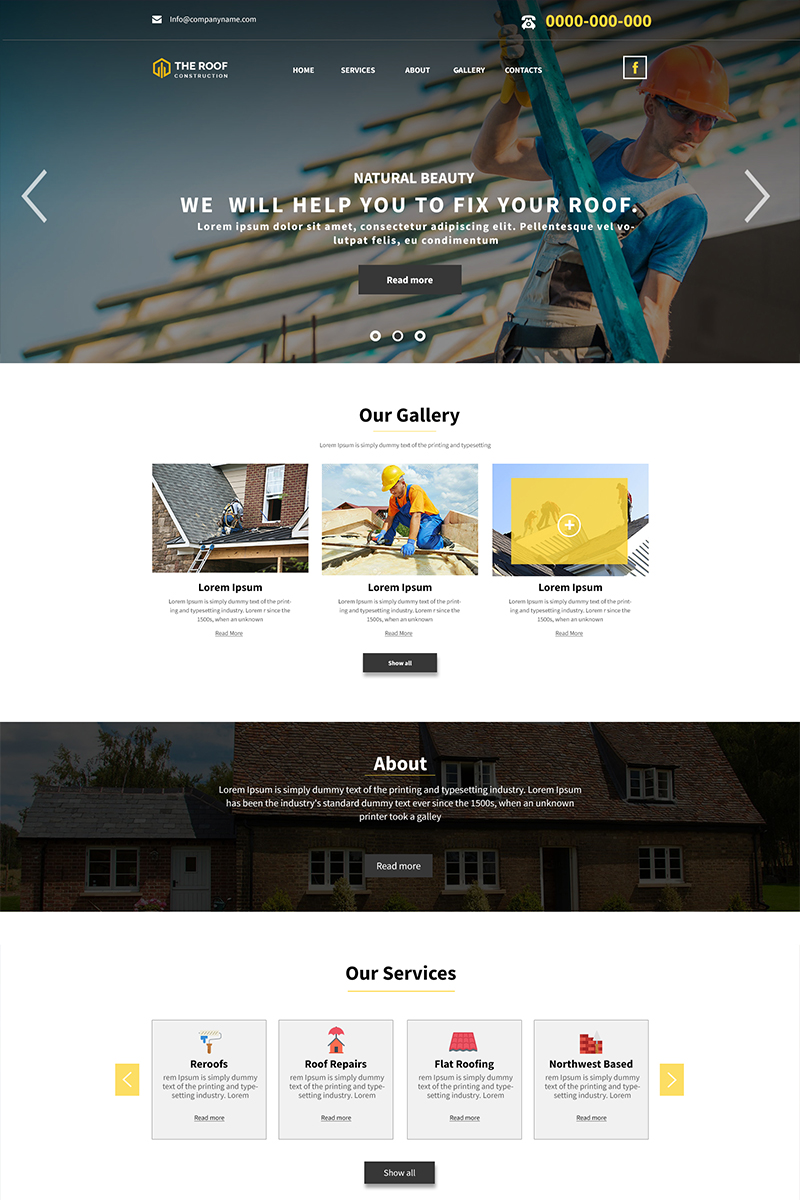 "Plantilla PSD ""The Roof - Roofing Company"" #84595"