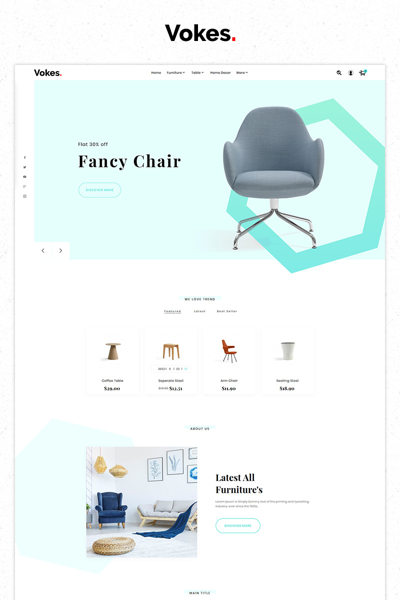 "PrestaShop Theme namens ""Free Vokes Furniture Store Premium"" #84516"
