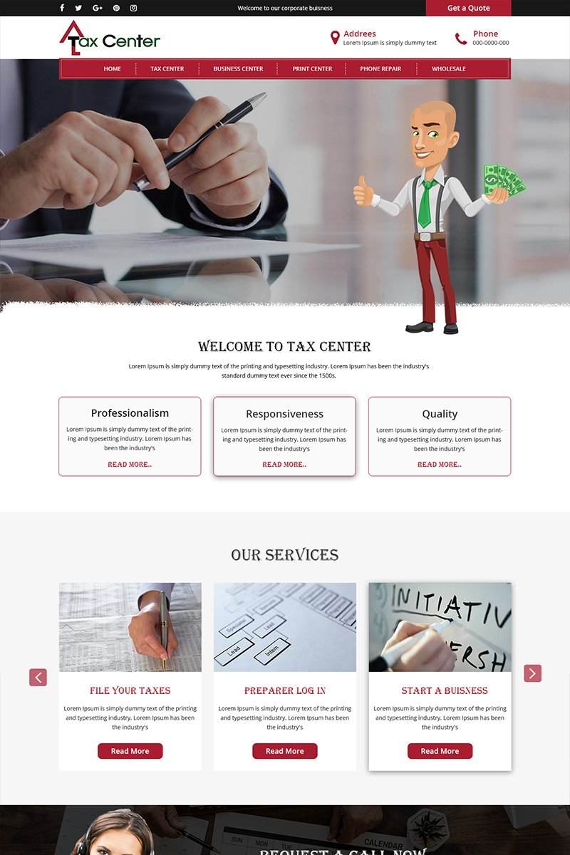 Tax Center - Tax Consultation Company PSD Template