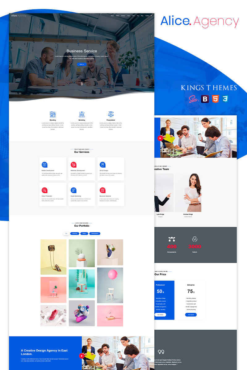 Alice Agency - Landing Page Template