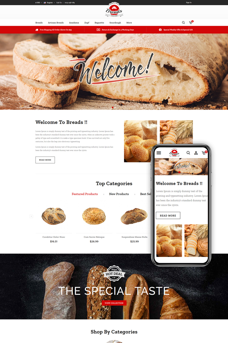 """Breads - Bakery"" thème PrestaShop adaptatif #84627 - screenshot"