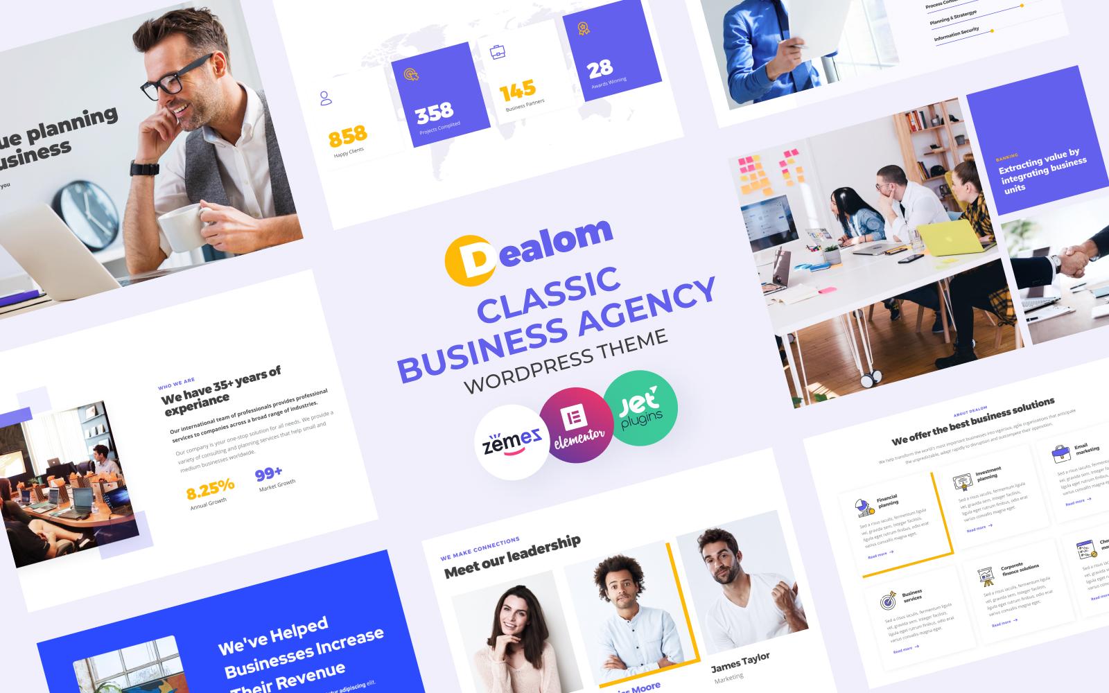 """Dealom - Classic Business Agency Elementor"" - адаптивний WordPress шаблон №84609"