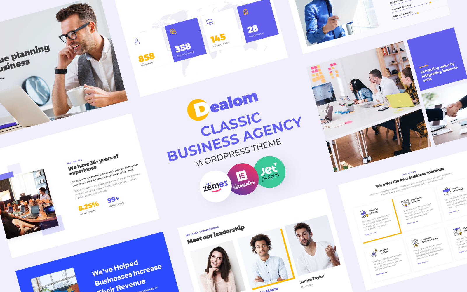 """Dealom - Classic Business Agency Elementor"" Responsive WordPress thema №84609"