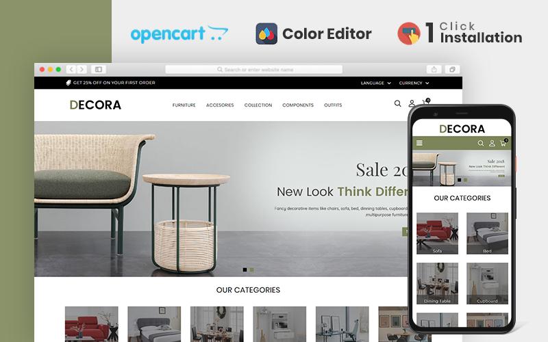 """Decora Furniture"" - адаптивний OpenCart шаблон №84603"