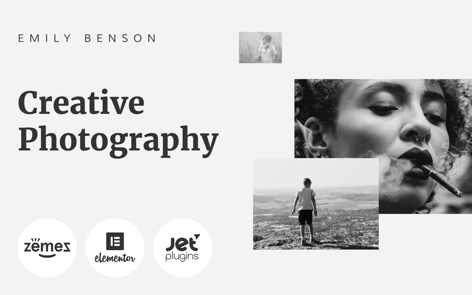 """Emily Benson - Photography One page Black&White Elementor"" Responsive WordPress thema №84654"