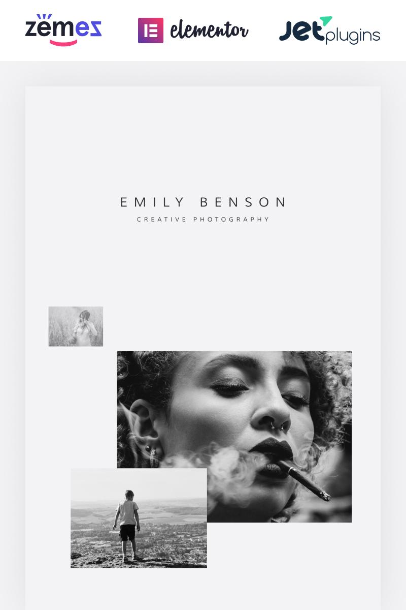 Emily Benson - Photography One page Black&White Elementor Tema WordPress №84654