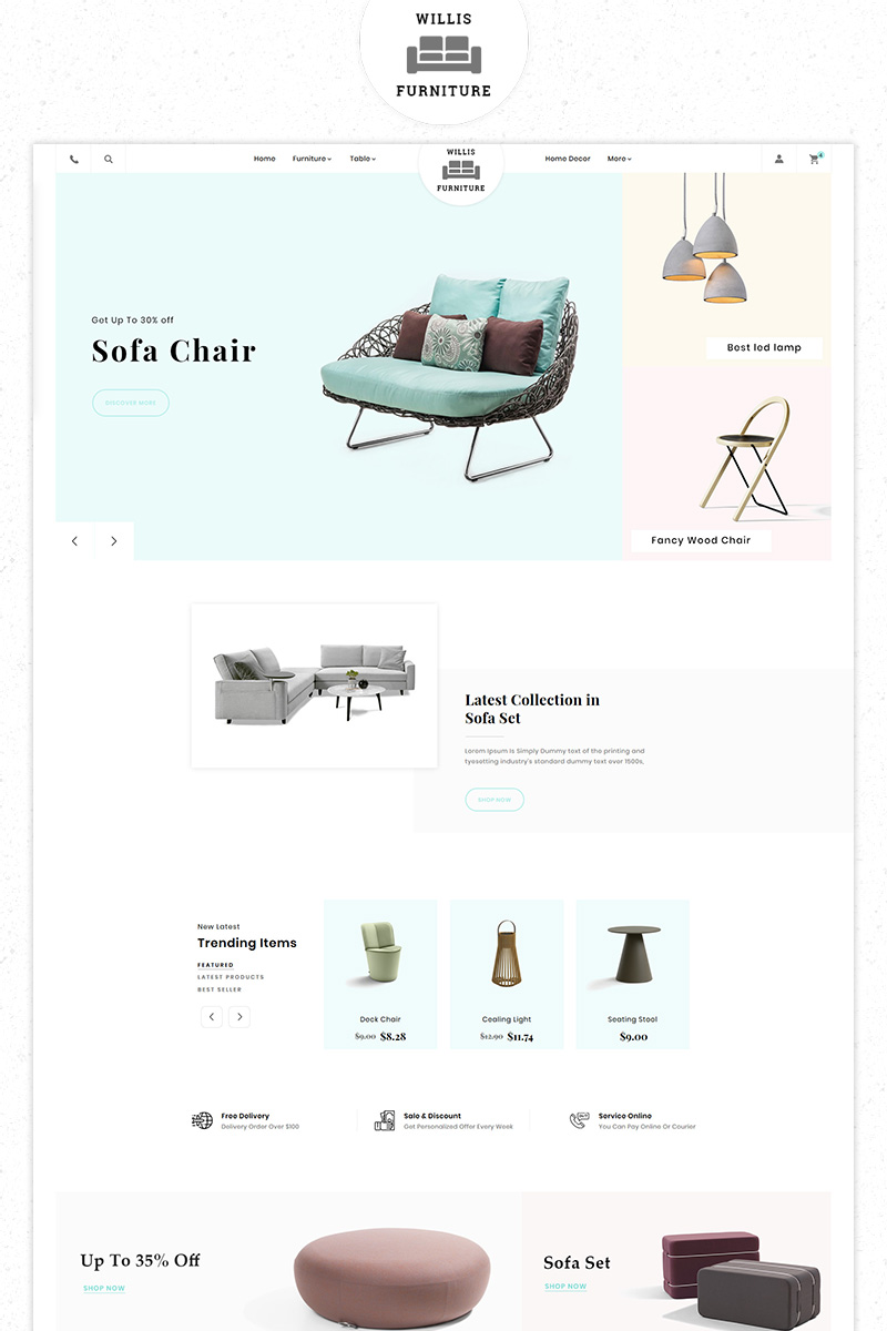Free Willis Furniture Responsive Premium Store PrestaShop Theme