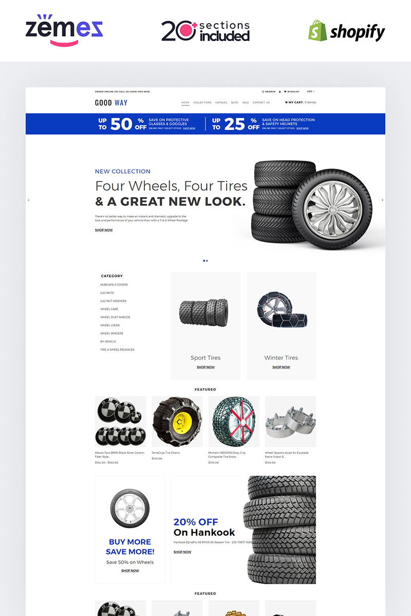 """Good Way - Wheels & Tires eCommerce Clear"" thème Shopify adaptatif #84623"