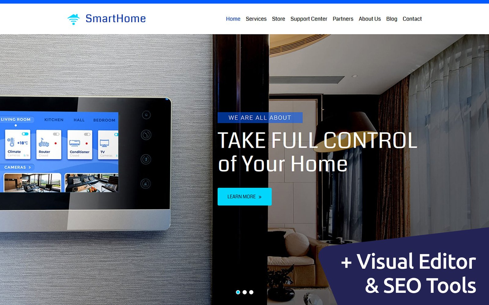 "Modello Moto CMS 3 Responsive #84608 ""Smart Home"""