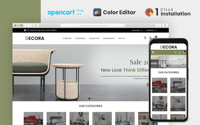 "OpenCart Vorlage namens ""Decora Furniture"" #84603"
