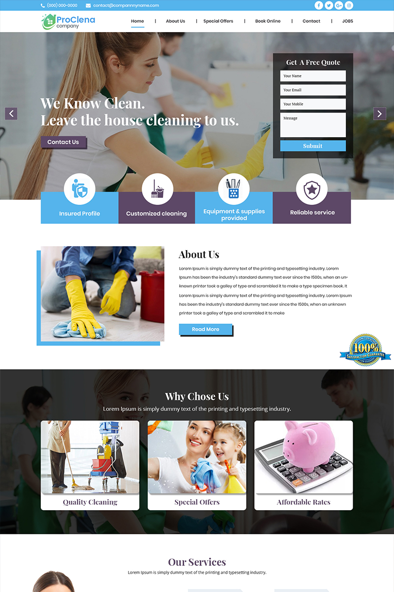 """ProClena - Multipurpose Cleaning"" PSD Template №84600"