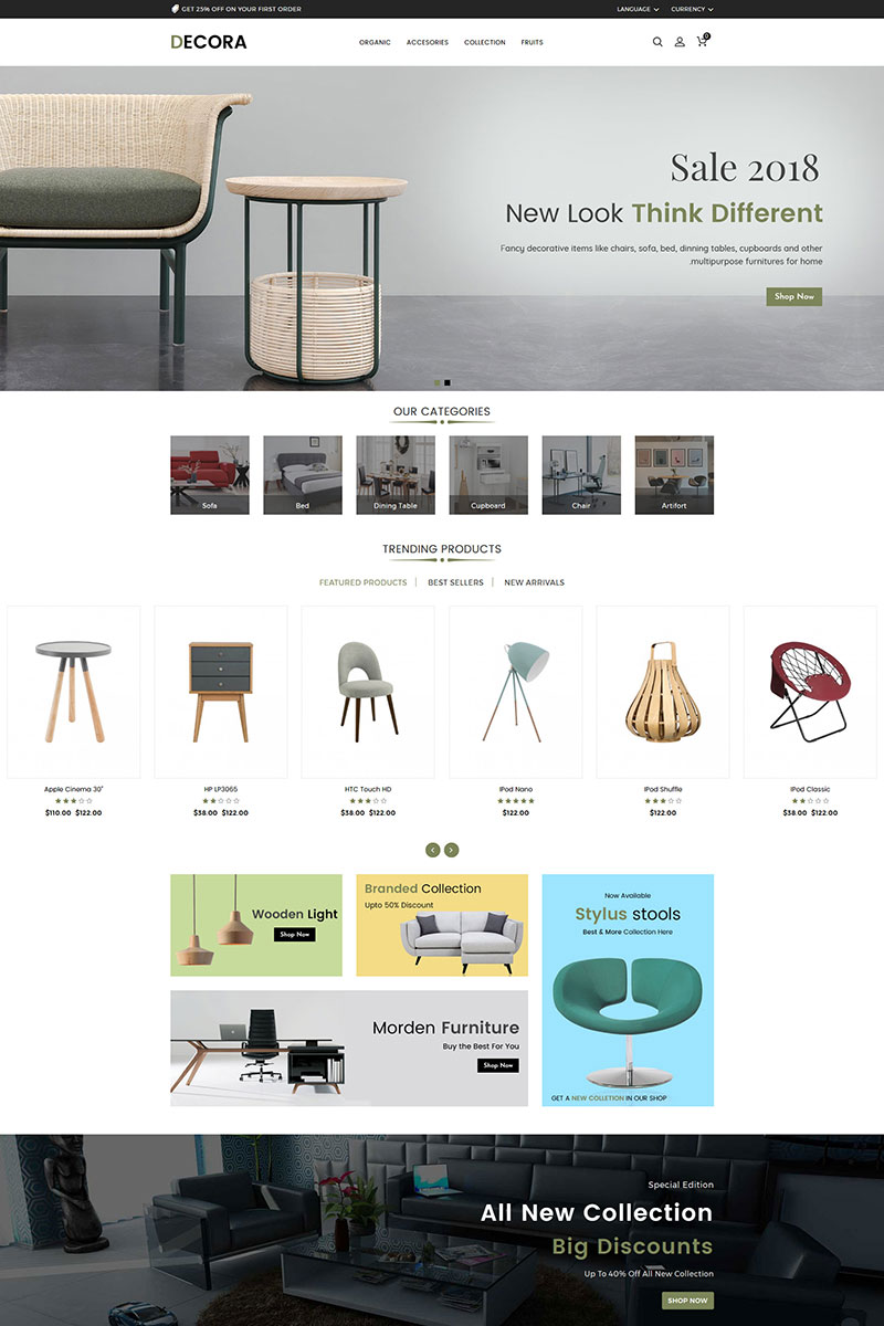 Responsywny szablon OpenCart Decora Furniture #84603
