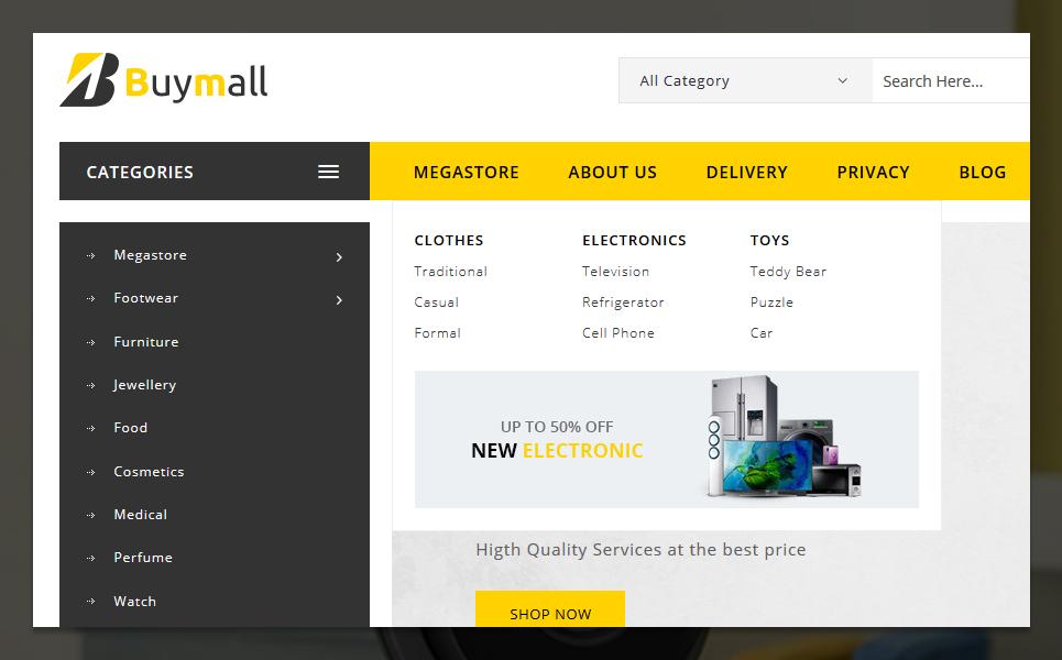 Reszponzív Buymall PrestaShop sablon 84602 - képernyőkép