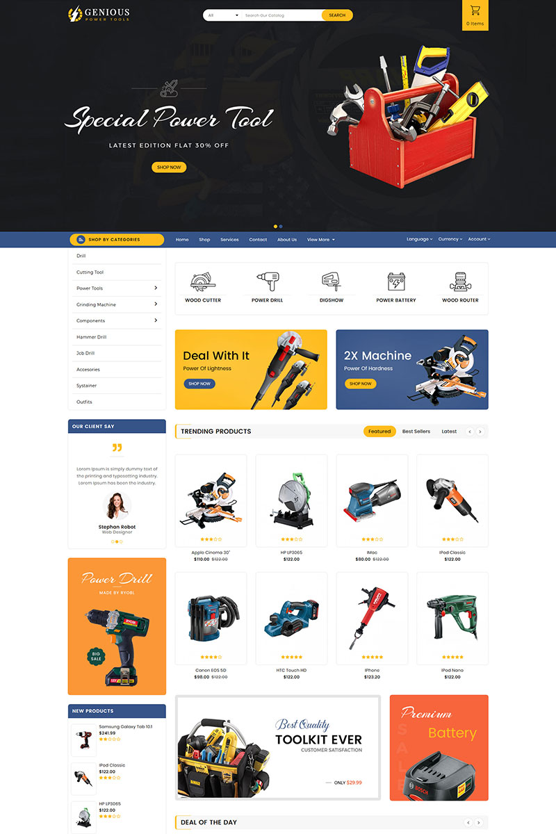 Reszponzív Genious Tools OpenCart sablon 84685