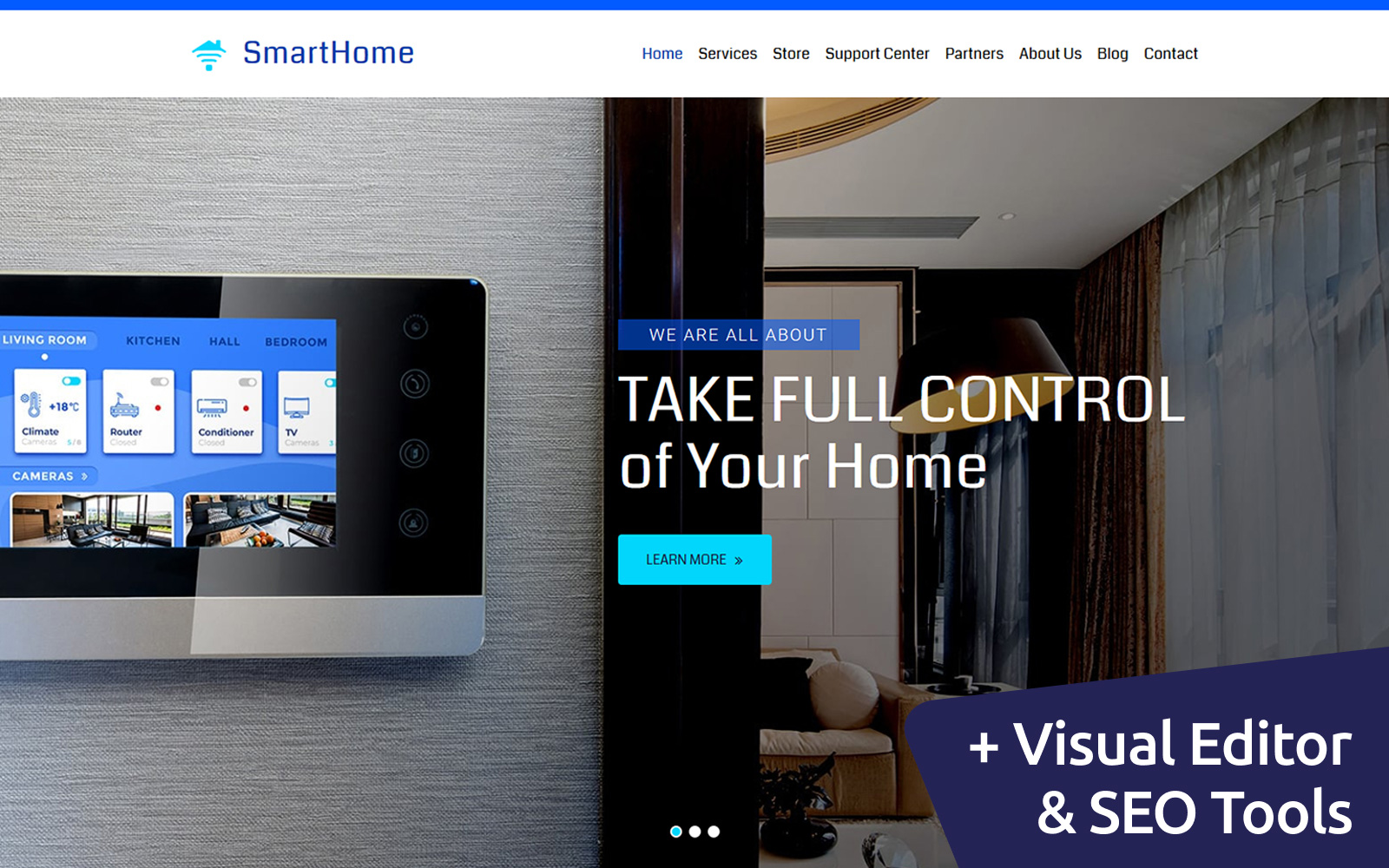 """Smart Home"" modèle Moto CMS 3 adaptatif #84608"
