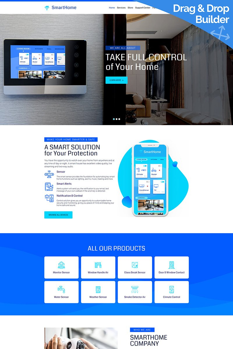 """Smart Home"" Responsive Moto CMS 3 Template №84608"
