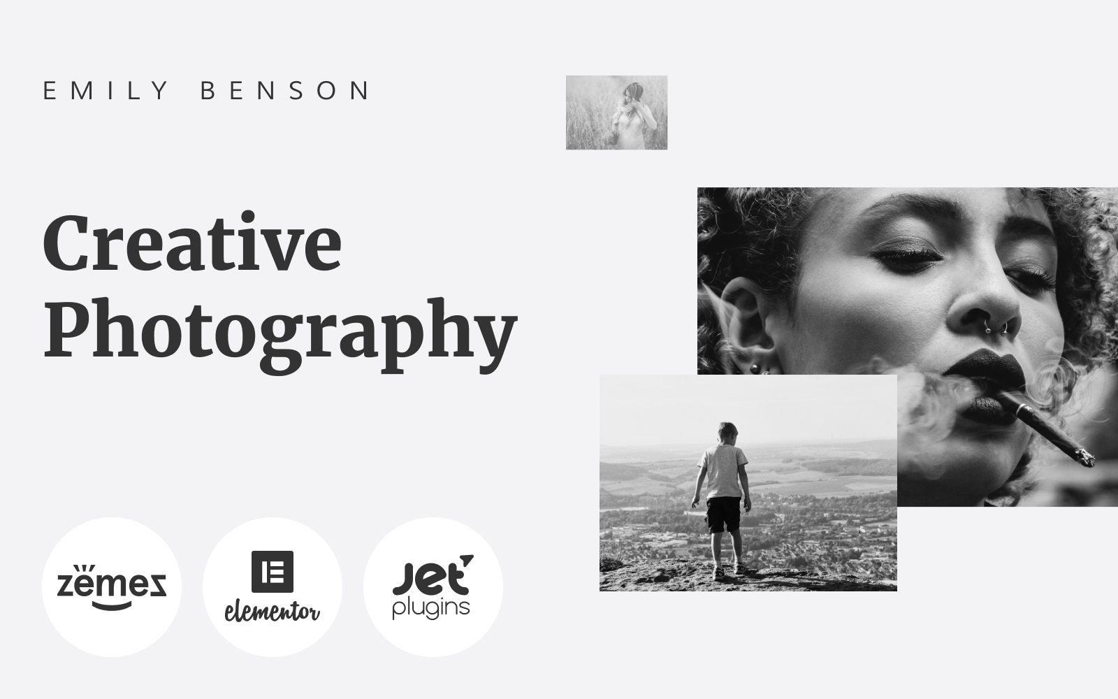 "Tema WordPress Responsive #84654 ""Emily Benson - Photography One page Black&White Elementor"""