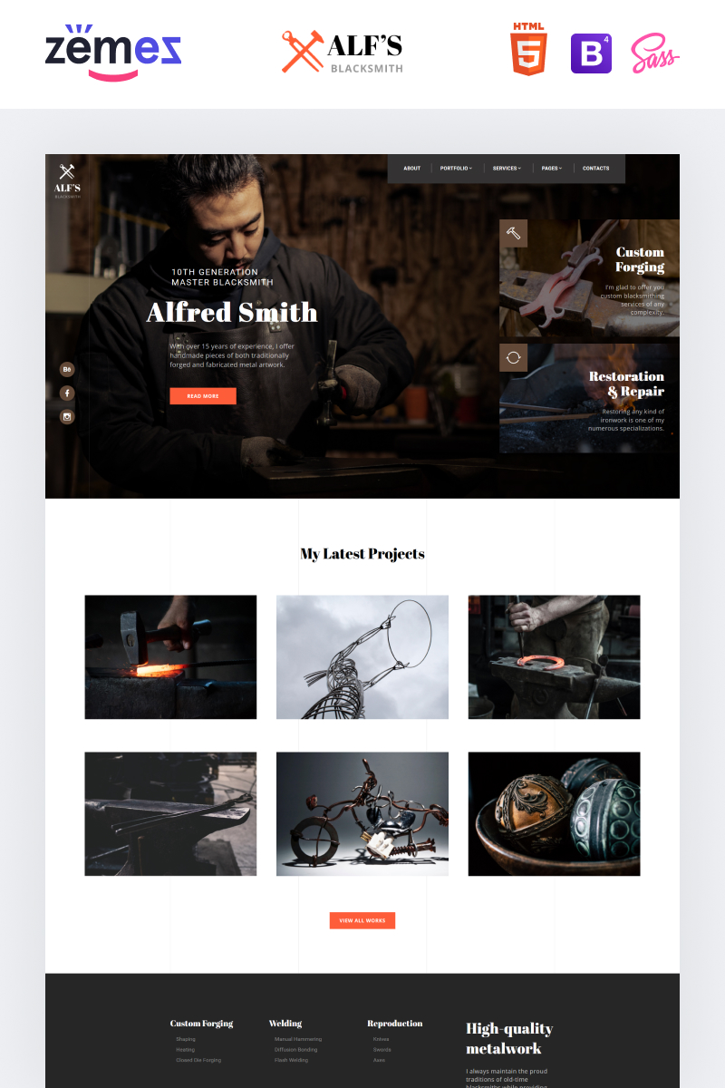 """ALF's - Personal Page Modern Multipage HTML"" - адаптивний Шаблон сайту №84789 - скріншот"