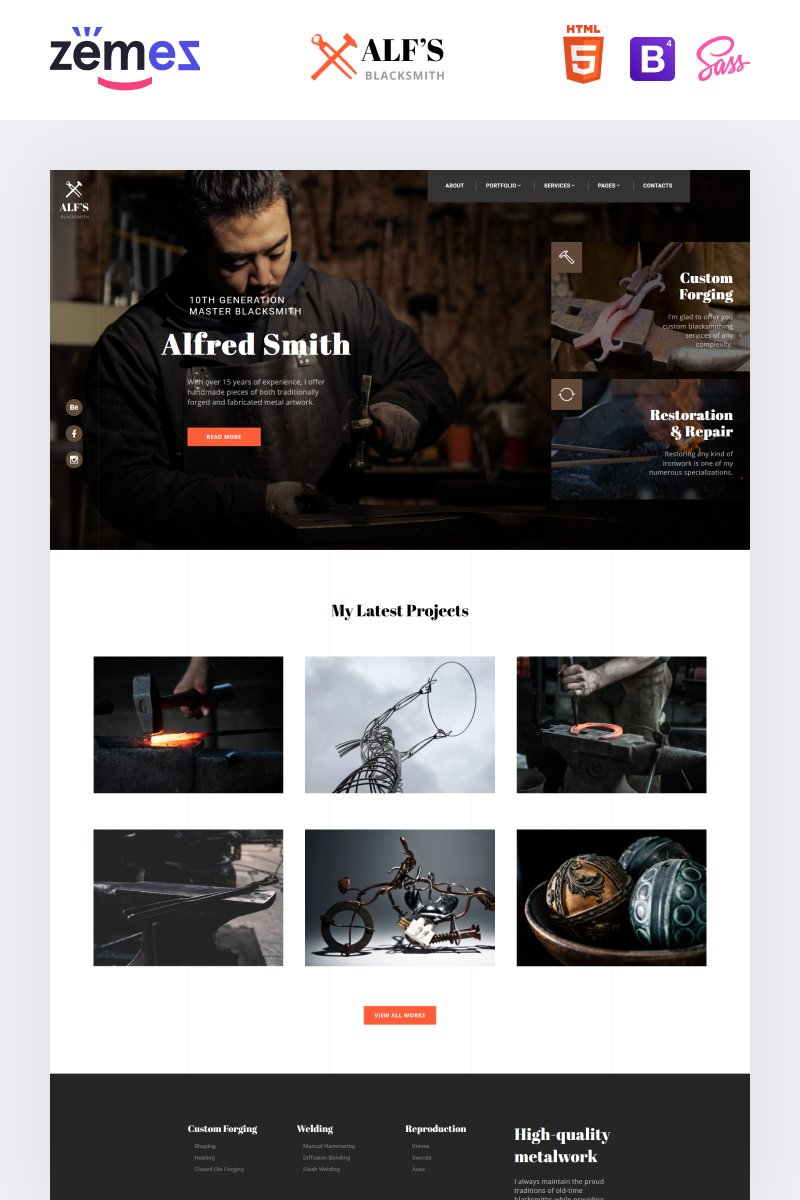 """""""ALF's - Personal Page Modern Multipage HTML"""" 响应式网页模板 #84789 - 截图"""