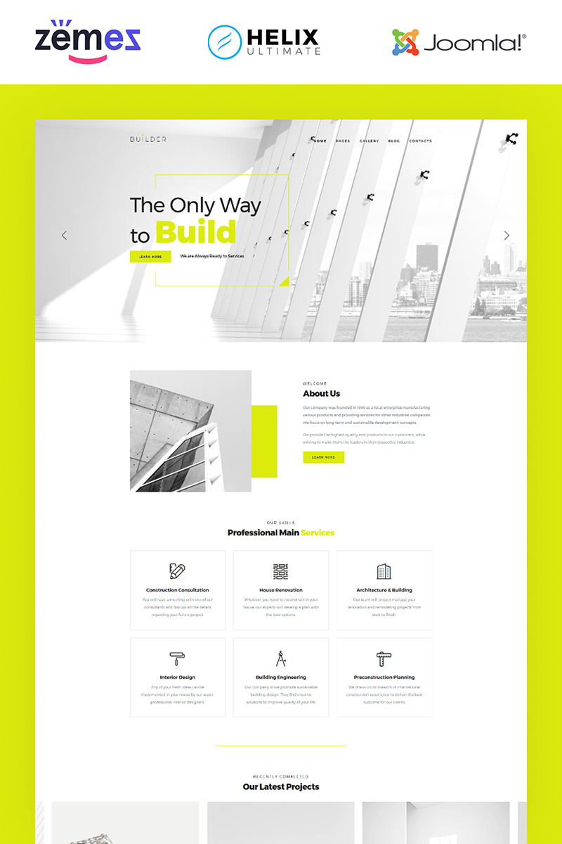 """Builder - Construction Company Multipage Corporate"" - адаптивний Joomla шаблон №84735"