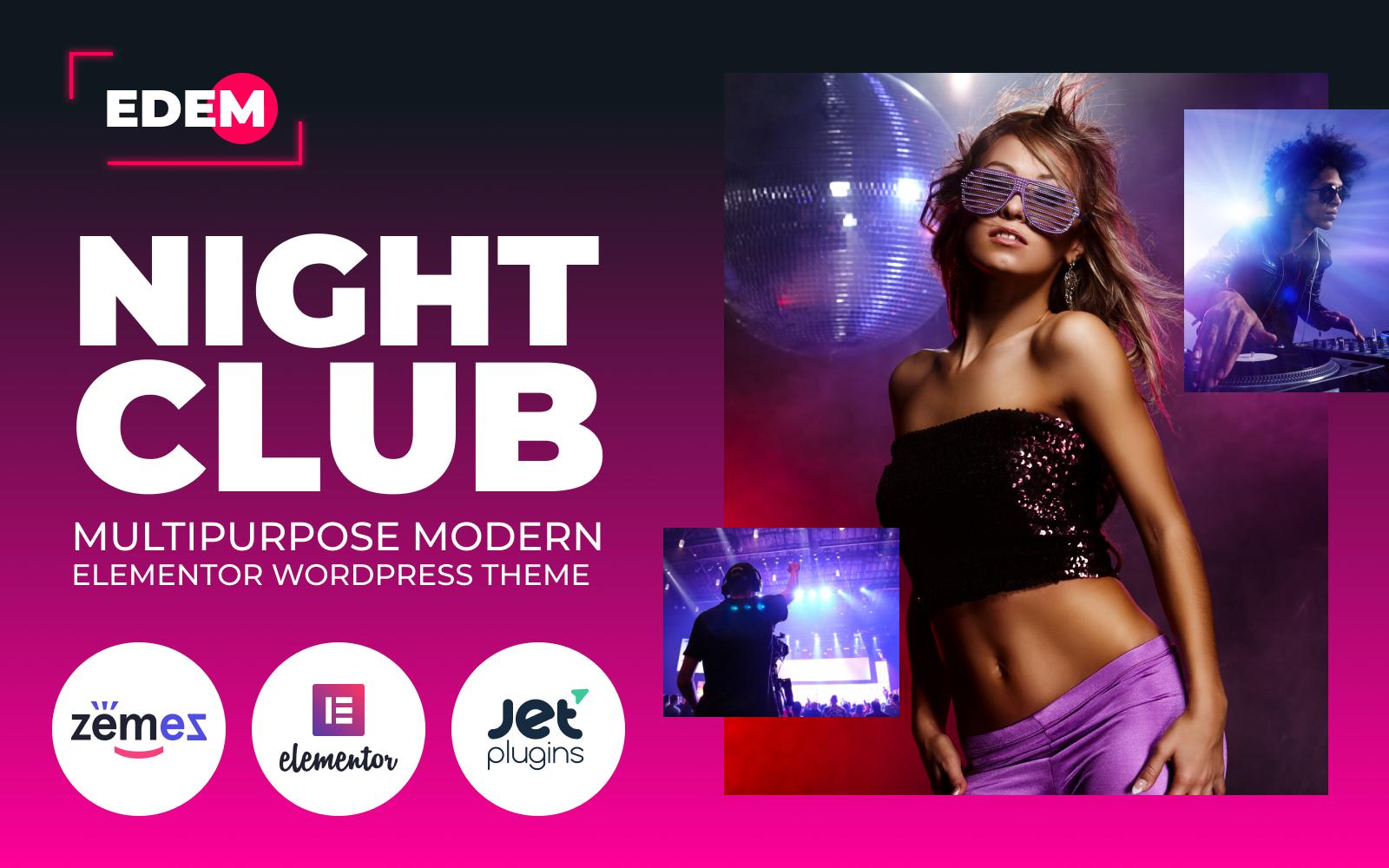 """Edem - Night Club Multipurpose Modern Elementor"" Responsive WordPress thema №84736"