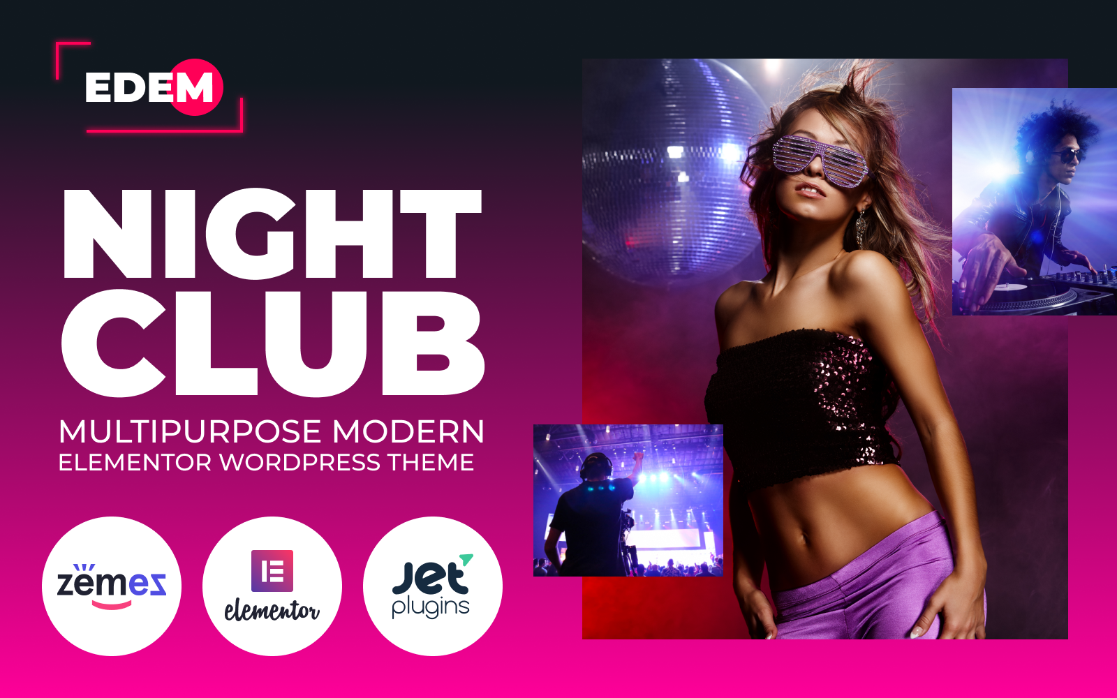 """Edem - Night Club Multipurpose Modern Elementor"" thème WordPress adaptatif #84736"