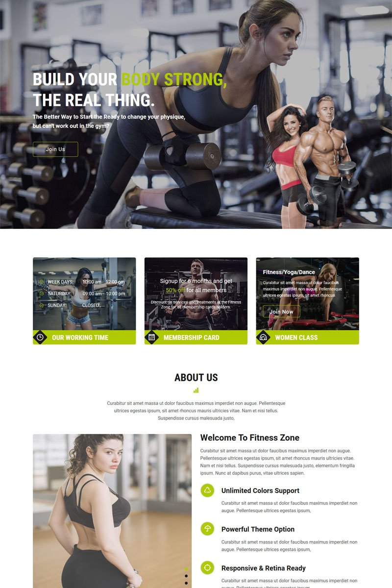 """""""Fitness Zone - Gym And Fitness"""" Muse Template №84787"""