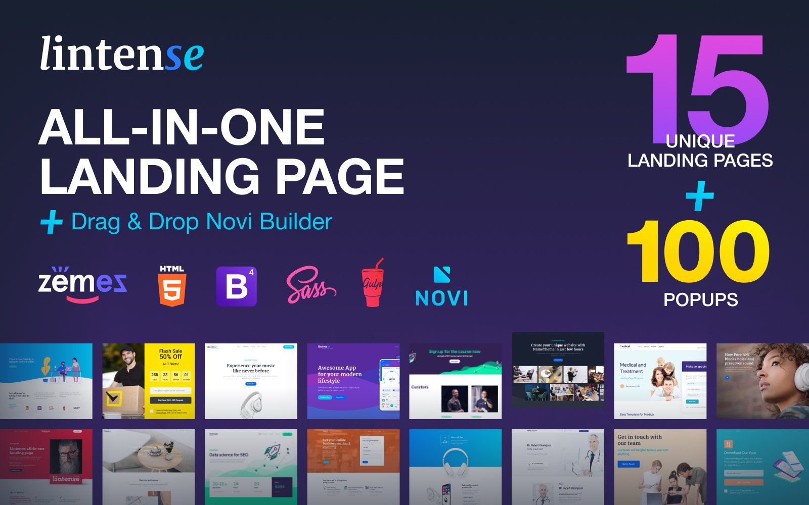 Lintense - All-in-one Landing Page Template - screenshot