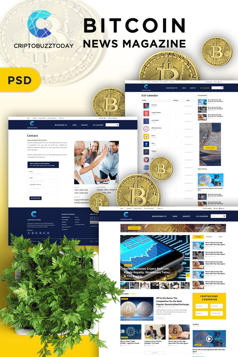 News Magazine Bitcoins PSD Template