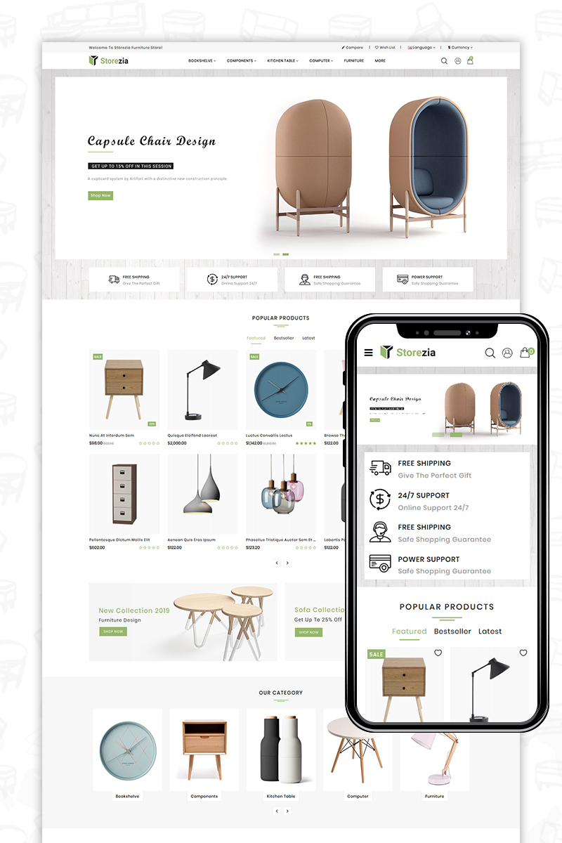 "PrestaShop motiv ""Storezia"" #84725 - screenshot"