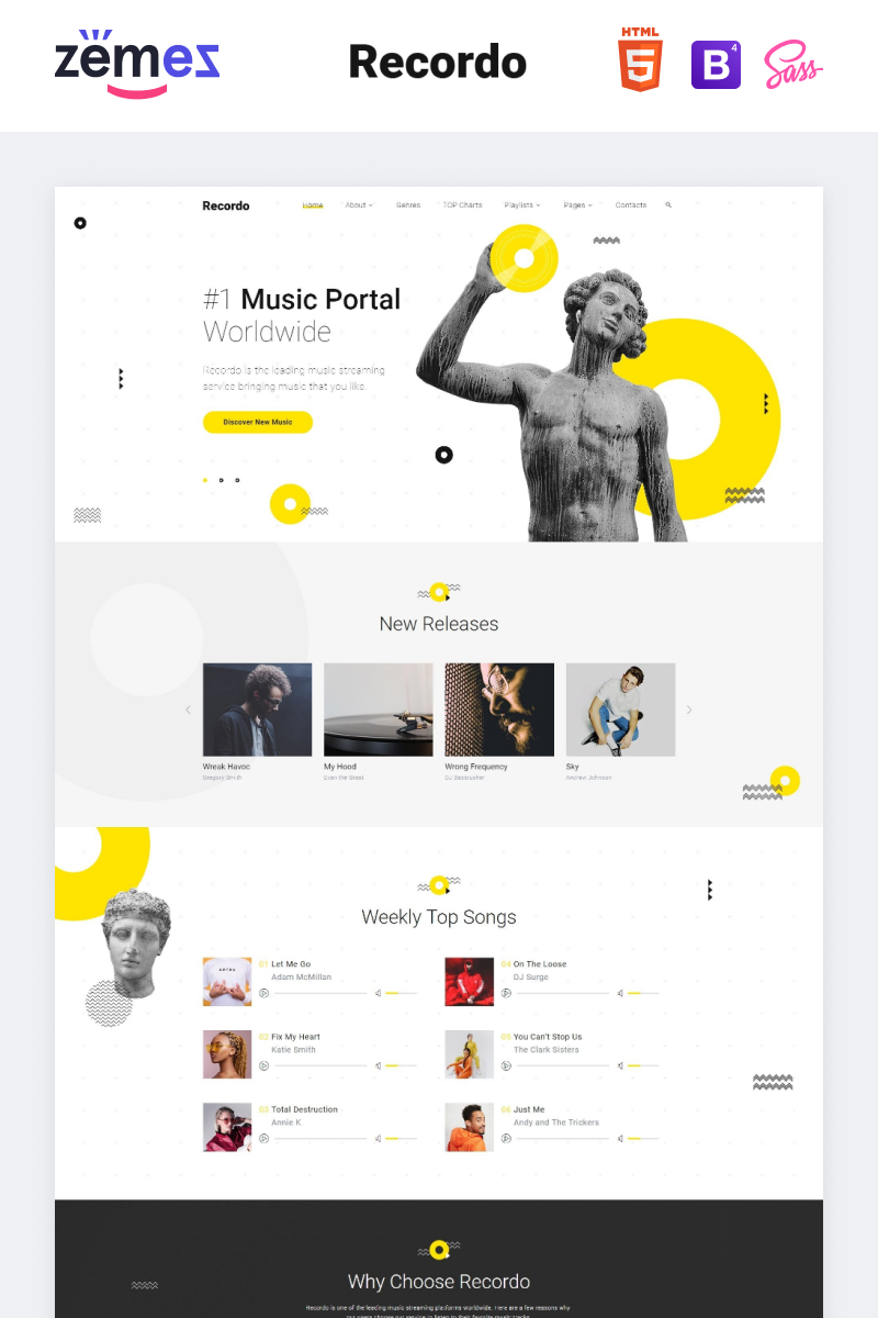 """Recordo - Music Studio Creative Multipage HTML"" Responsive Website template №84743"