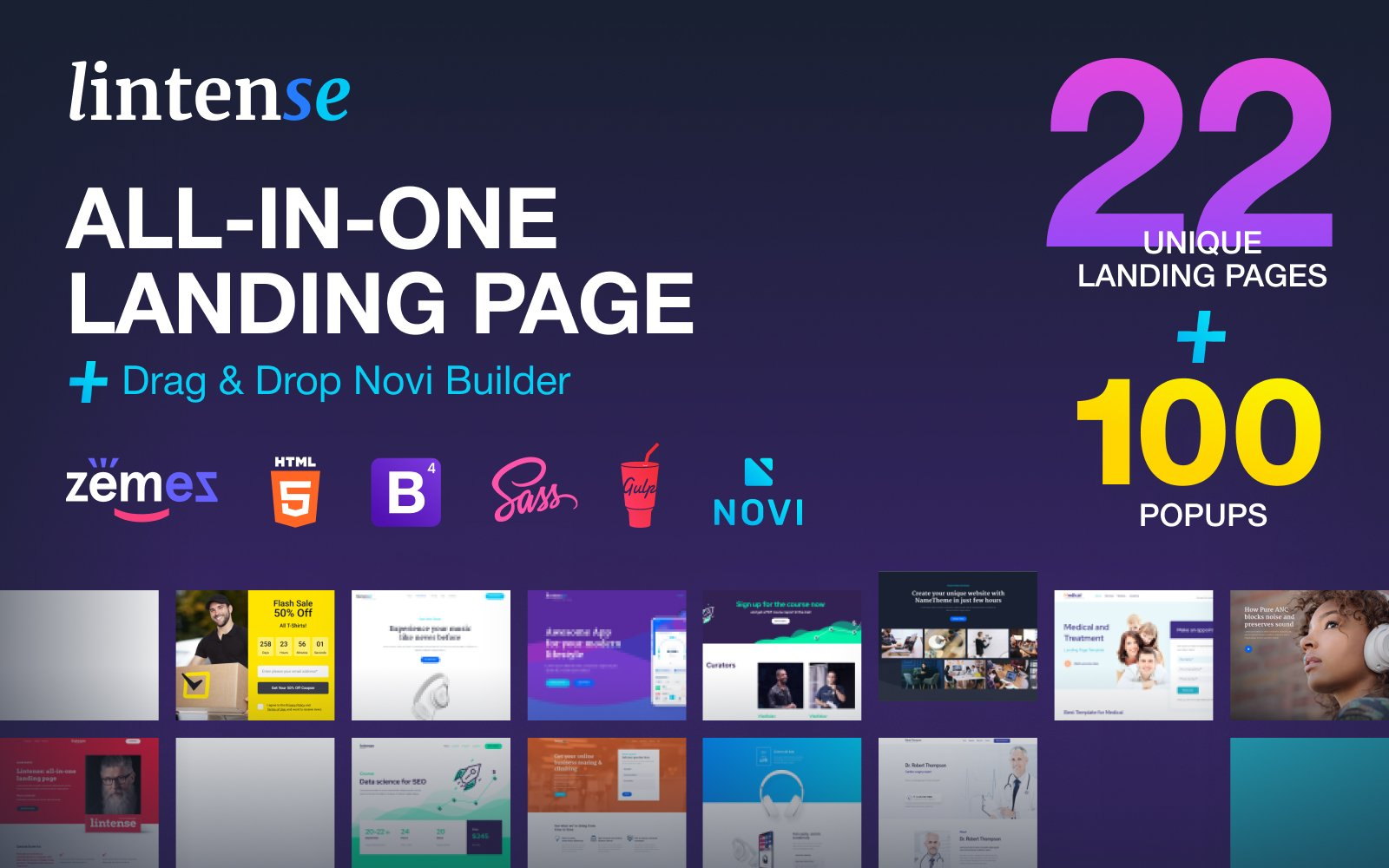 Responsywny szablon Landing Page Lintense - All-in-one #84721
