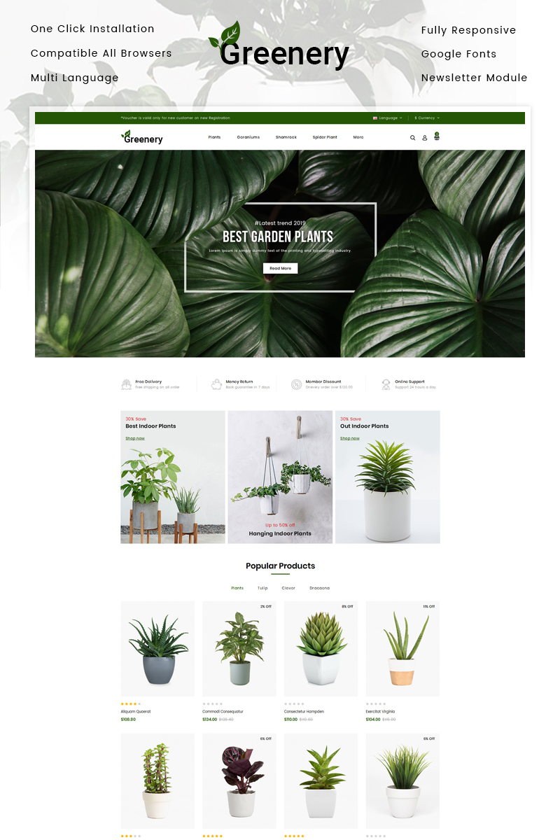 Responsywny szablon OpenCart Greenery - Plant Store #84784