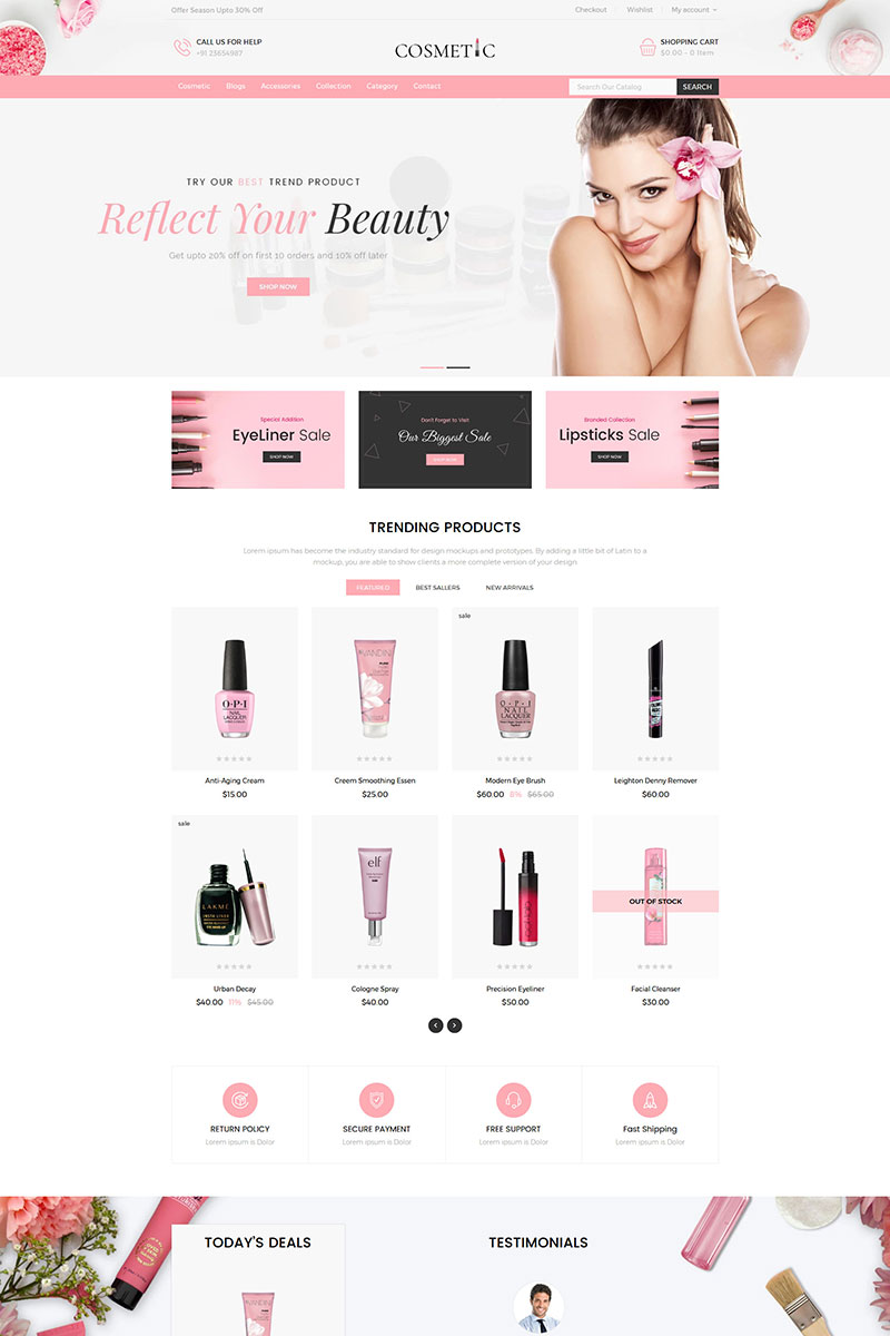 "Shopify Theme namens ""Cosmetics Store Responsive"" #84785 - Screenshot"