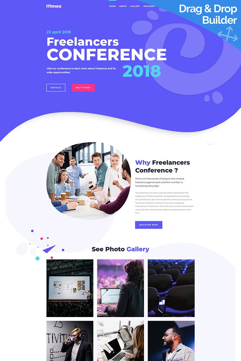 """Tema Moto CMS 3 Responsive #84786 """"ITImex - Conference"""""""