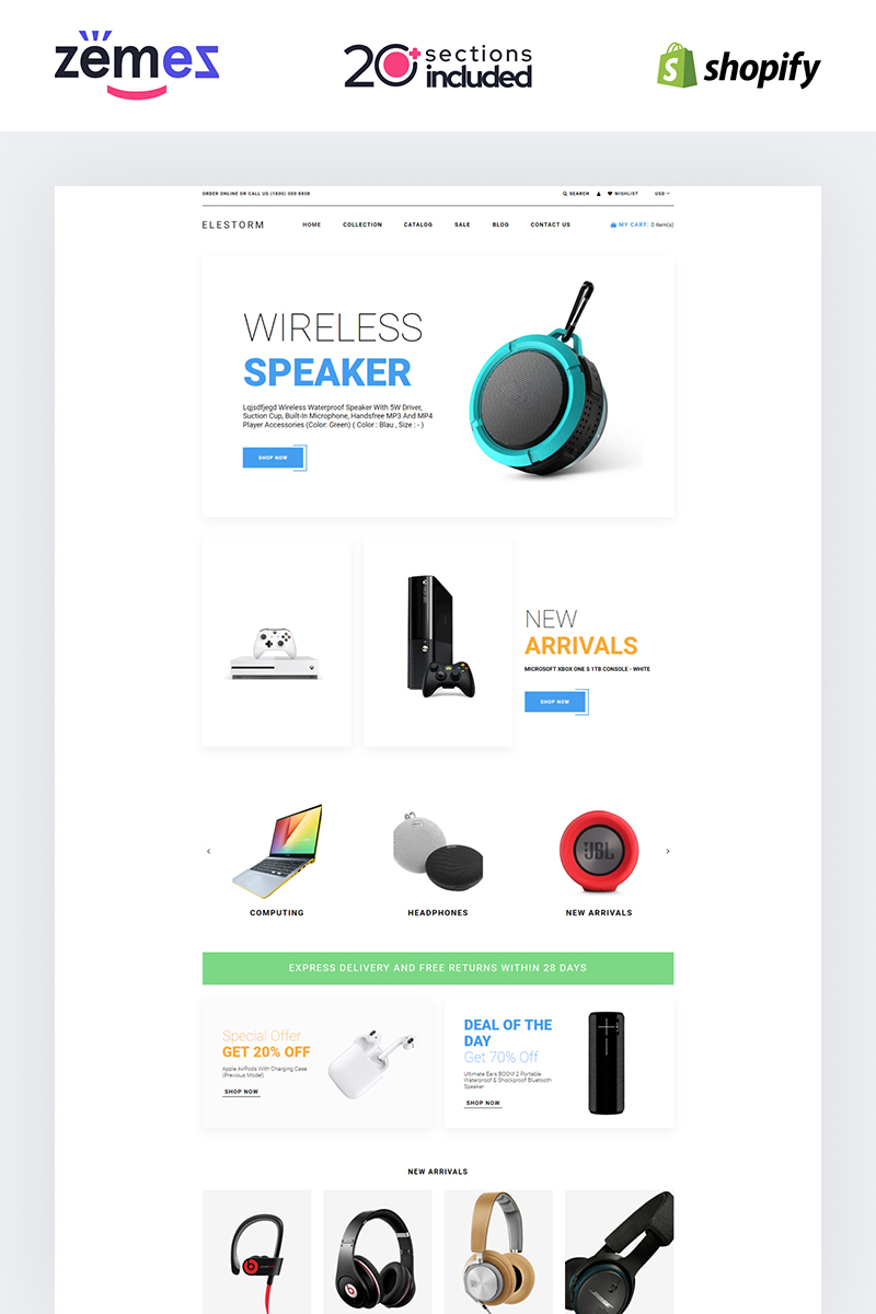 "Tema Shopify ""Elestorm - Electronics Store eCommerce Clear"" #84734"