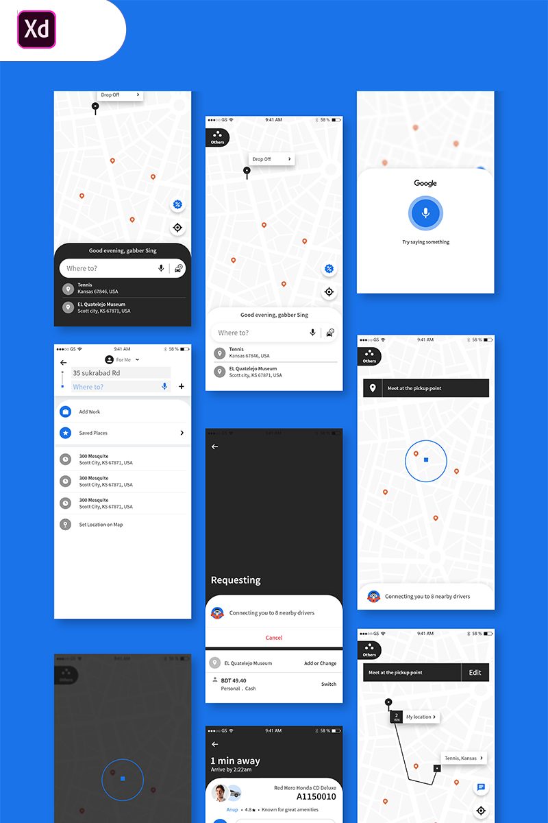 "UI prvky ""Uber Travel UI App"" #84741 - screenshot"