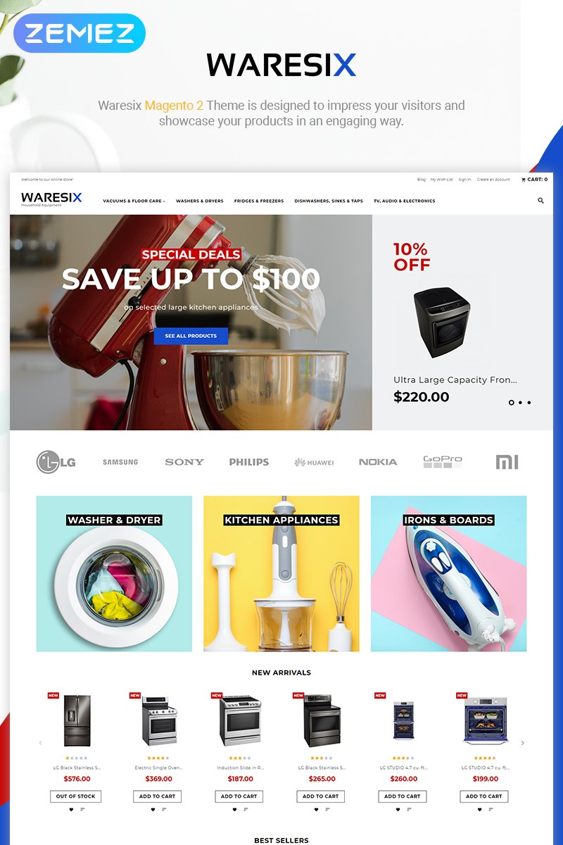 """Waresix - Household Equipment"" thème Magento adaptatif #84722"
