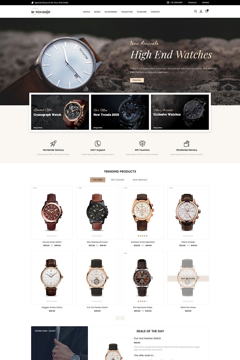 """""""Watch Store Responsive"""" Responsive Shopify Thema №84702"""