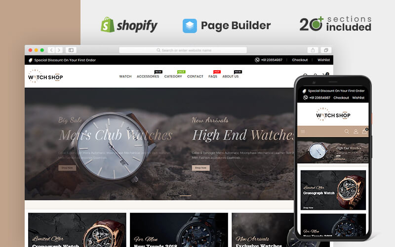 """""""Watch Store"""" Responsive Shopify Thema №84702"""