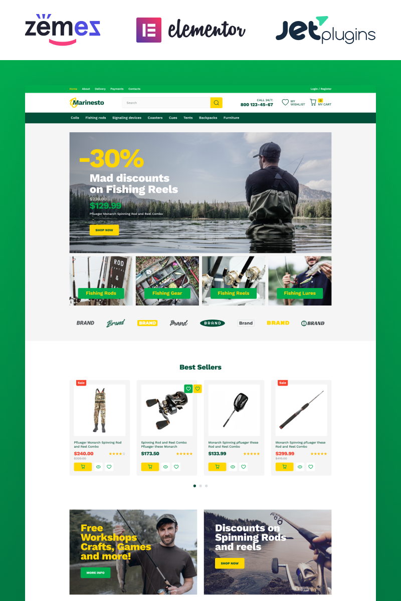 "WooCommerce Theme namens ""Marinesto - Fishing ECommerce Classic Elementor"" #84744"